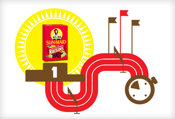 Race track graphic demonstrating the benefits of Sun-Maid raisins in running