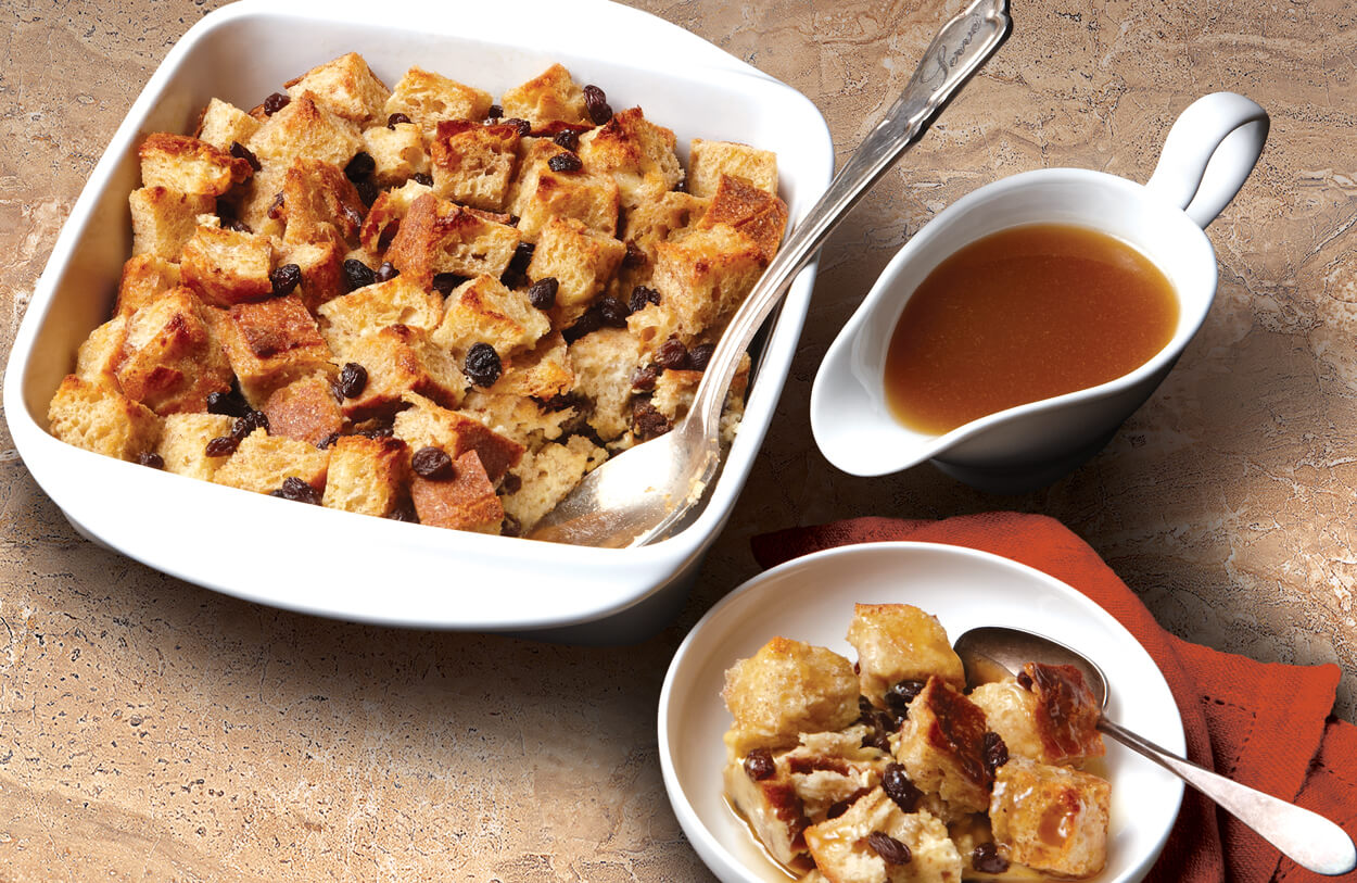 Spiced Raisin Bread Pudding with Vanilla Bourbon Sauce