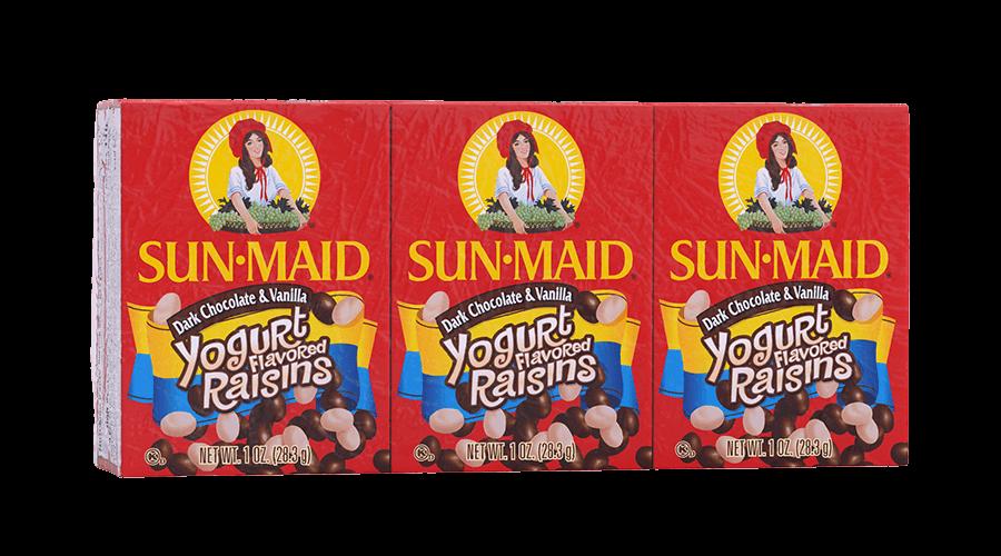 Sun-Maid Dark Chocolate & Vanilla Yogurt Flavored Raisins 1 oz. boxes (pack of 6)