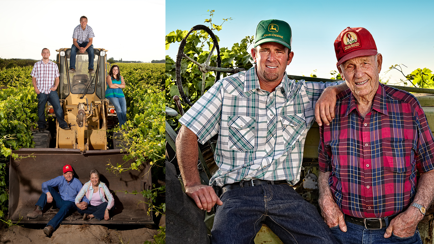 A collection of the faces of Sun-Maid growers. Left side: growers sitting on a tractor. Right side: up-close shot of two men smiling.