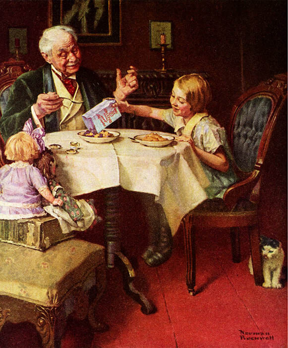 Painting of father and two children eating at the table by Norman Rockwell