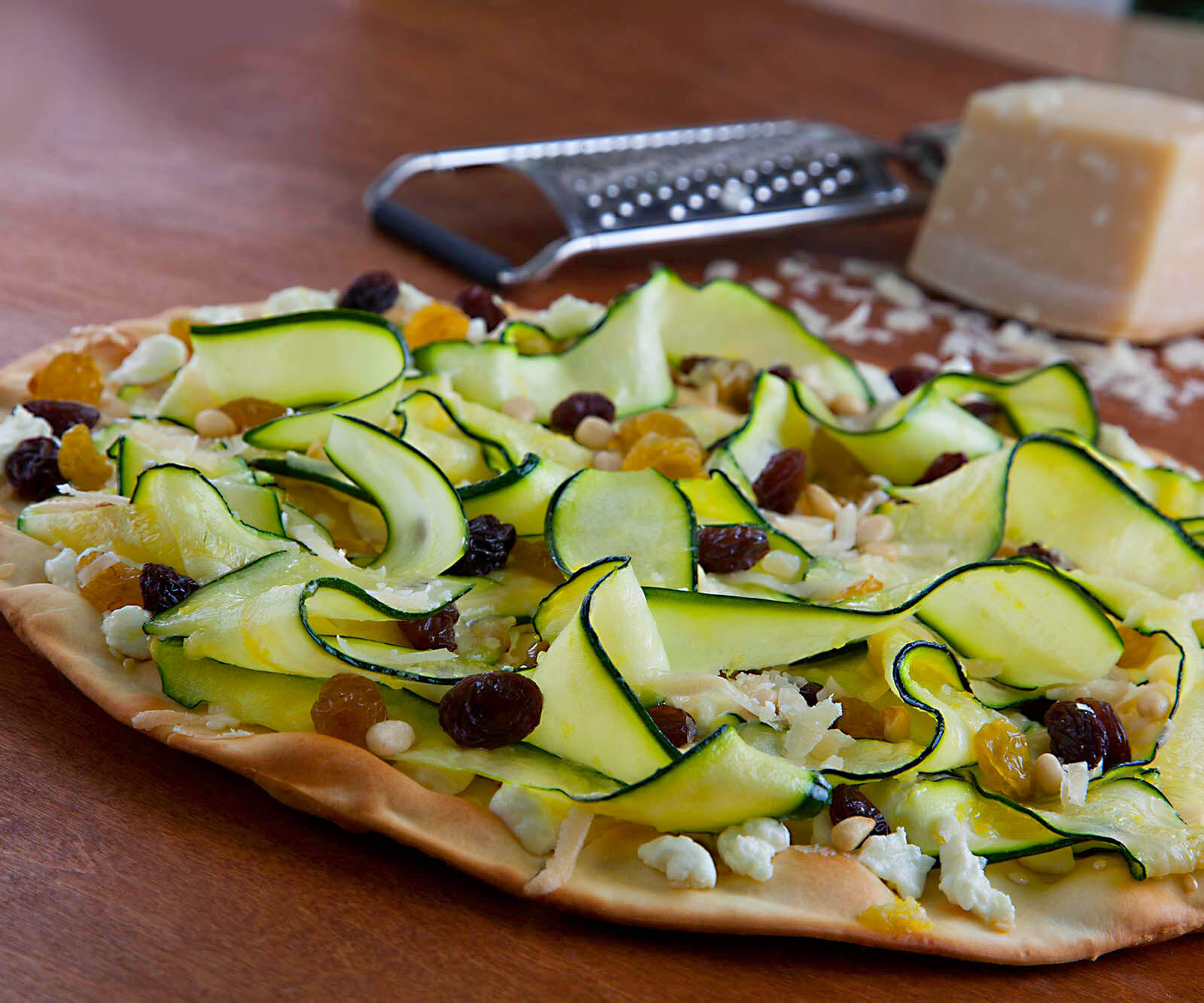 Fresno-Valley Zucchini and Raisins Pizza